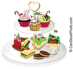 A tray with cupcakes