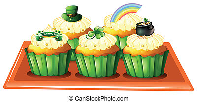 A tray with five cupcakes - Illustration of a tray with five...