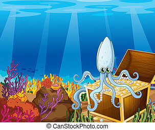 A treasure box under the sea with an octopus - Illustration...