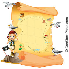 Illustration of a treasure map and a young girl holding a telescope on a white background