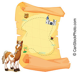 A treasure map beside a smiling horse