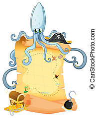 A treasure map with a big octopus