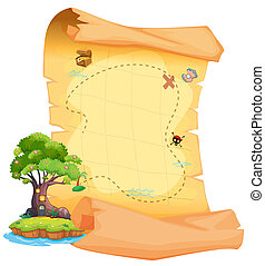 Illustration of a treasure map with an island on a white background