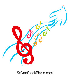 A treble clef with a heart and colorful notes on the tail of a magic bird