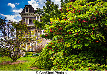 A tree and the Cylburn Mansion at Cylburn Arboretum in Baltimore