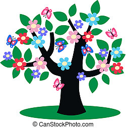 a tree full of flowers