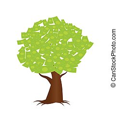 a tree growing money in the form of dollar notes