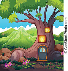 A tree house in the middle of the forest - Illustration of a...