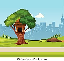 A tree house in the park