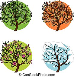 A tree in four different seasons. Set of four trees in different seasons, vector illustration