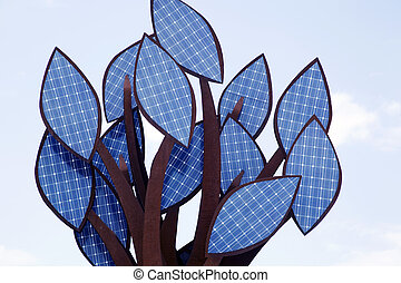 A tree of solar energy cells - A tree with leaves of solar...