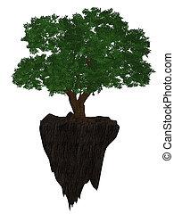 A Tree On A Cliff - A tree on a cliff on a white background