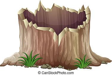 A tree stump - Illustration of a tree stump on a white...