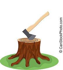 A tree stump with an axe stuck