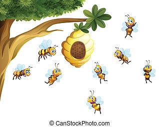 A tree with a beehive surrounded by bees