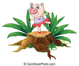 A tree with a female pig