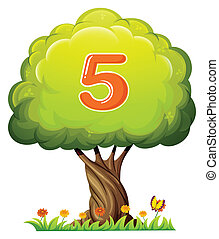 A tree with a number five figure