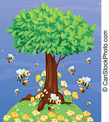 A tree with bees