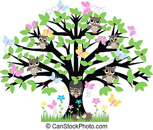 a tree with lot of animals