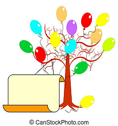 A tree with many colorful balloons and a big blank paper for congratulations. Vector-art illustration