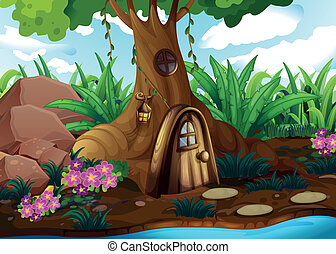 A treehouse at the forest - Illustration of a treehouse at ...