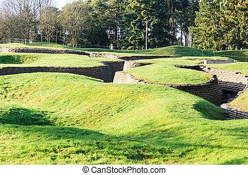 a, trenches, e, crateras, ligado, campo batalha, de, vimy,...