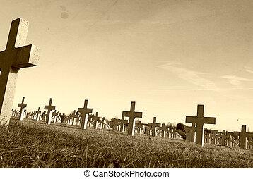 a, trenches, ligado, campo batalha, de, vimy, mundo, guerra,...
