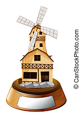 A trophy stand with a wooden house