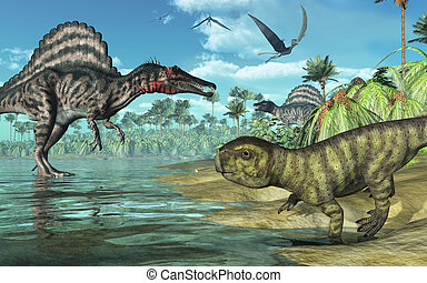 A tropical prehistoric scene with several dinosaurs,...