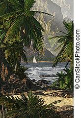 Kauai - A tropical scene of Kauai%u2019s coastline with ...