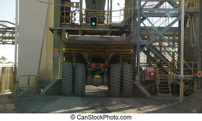 A truck getting ready to be filled - A yellow truck comes...