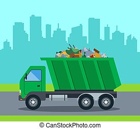 A truck takes out garbage from a city to a landfill. flat ...