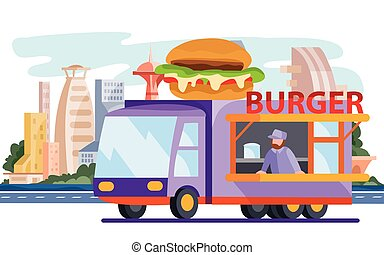 a truck that sells street food, a hamburger, cheeseburger, fast food, stands on the background of a big city, vector illustration