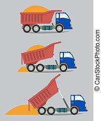 A truck unloads cargo in series