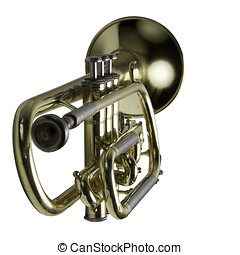 A trumpet with focus on the keys