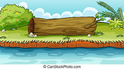 Illustration of a trunk lying in the ground