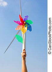 A turbine in the hands of a child