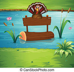 A turkey floating with the empty signage - Illustration of a...