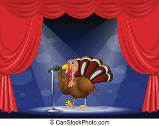 A turkey in the limelight - Illustration of a turkey in the...