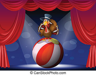 A turkey performing on stage with a ball - Illustration of a...