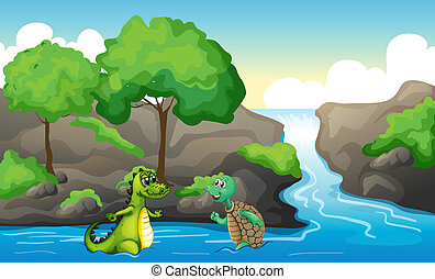 A turtle and a crocodile