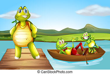 Illustration of a turtle at the bridge and the two playful frogs at the boat