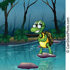 A turtle in the pond