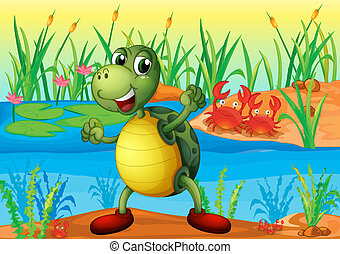 A turtle in the pond with two crabs at the back