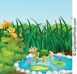 A turtle in the pond with waterlilies - Illustration of a...