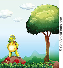 A turtle standing above the rock near the tree