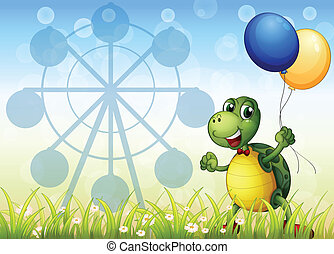 A turtle with two balloons at the carnival