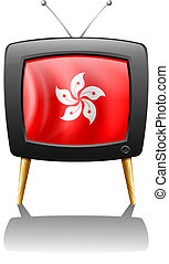 A TV showing the flag of Hongkong - Illustration of a TV...