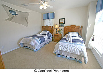 A Twin Bedroom in a House in Florida.