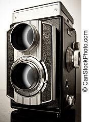 A twin-lens reflex camera (TLR) - old twin-lens reflex ...